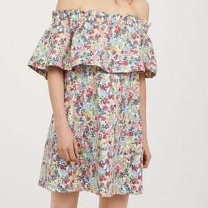 H&M Off shoulder floral print dress